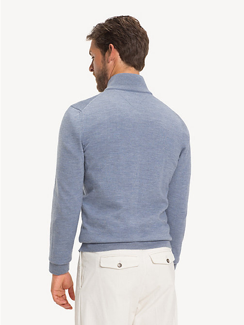TOMMY HILFIGER Luxury Wool Two-Way Zip Jumper - KENTUCKY BLUE - TOMMY HILFIGER NEW IN - detail image 1