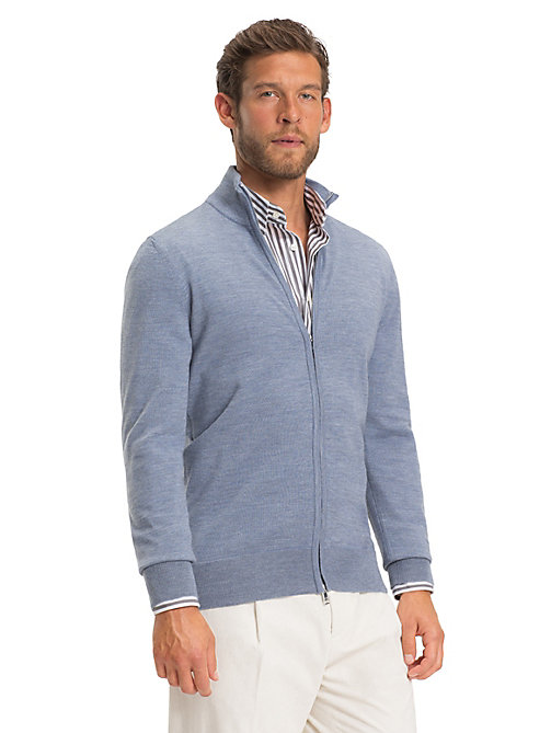 TOMMY HILFIGER Luxury Wool Two-Way Zip Jumper - KENTUCKY BLUE - TOMMY HILFIGER NEW IN - main image