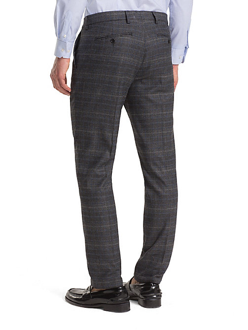 TOMMY HILFIGER TH Flex Check Slim Trousers - GUNMETAL - TOMMY HILFIGER Formal Trousers - detail image 1