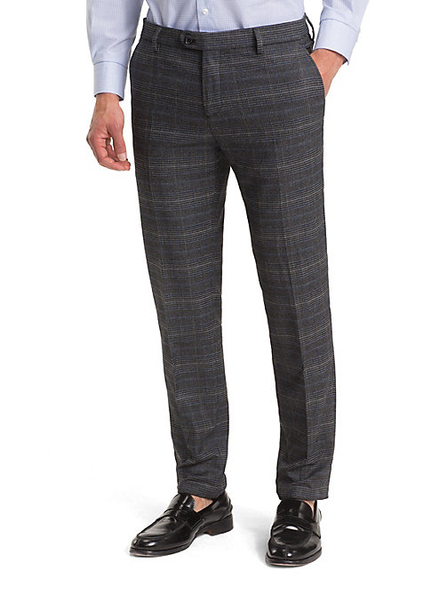 TOMMY HILFIGER TH Flex Check Slim Trousers - GUNMETAL - TOMMY HILFIGER Formal Trousers - main image