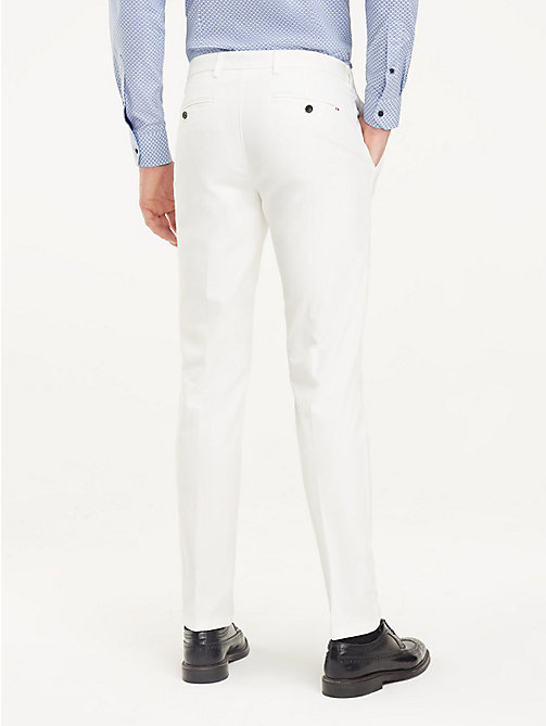 TOMMY HILFIGER TH Flex Slim Fit Trousers - OFF WHITE - TOMMY HILFIGER Formal Trousers - detail image 1