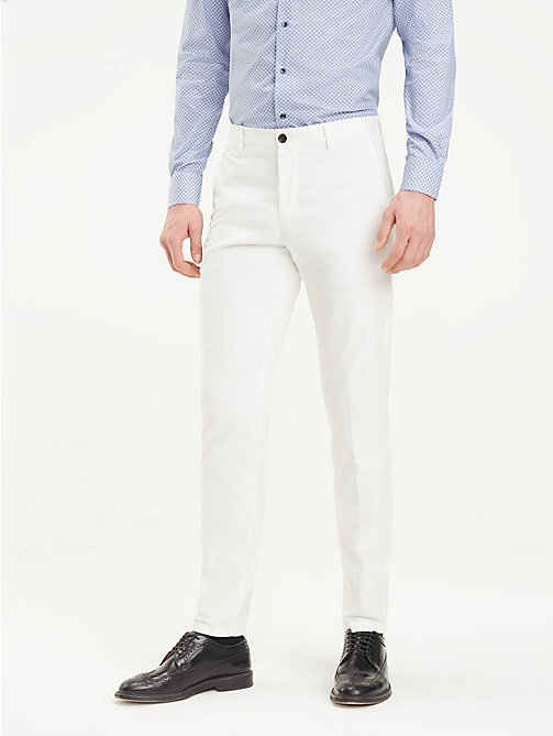 TOMMY HILFIGER TH Flex Slim Fit Trousers - OFF WHITE - TOMMY HILFIGER Formal Trousers - main image