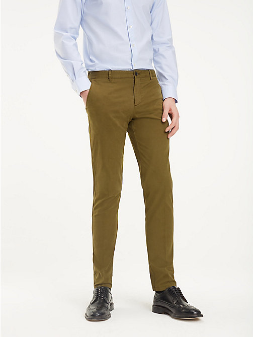 TOMMY HILFIGER TH Flex Slim Fit Trousers - DARK OLIVE - TOMMY HILFIGER Formal Trousers - main image