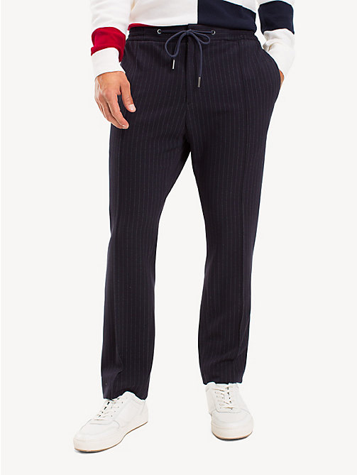 TOMMY HILFIGER TH Flex Pinstripe Trousers - MIDNIGHT BLUE - TOMMY HILFIGER Formal Trousers - main image