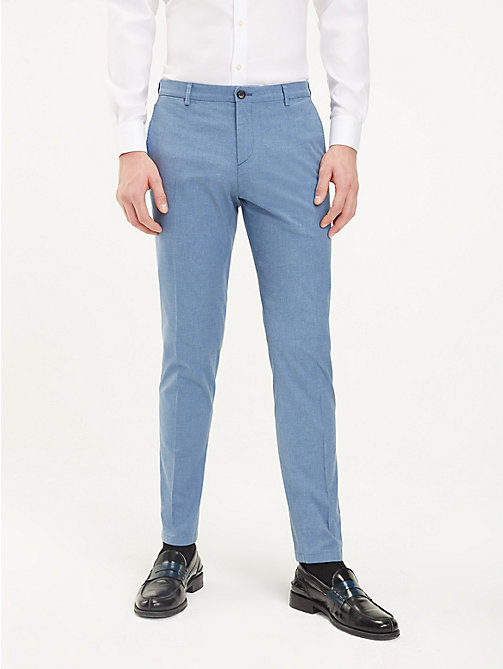 TOMMY HILFIGER TH Flex Slim Fit Trousers - HEATHER BLUE - TOMMY HILFIGER Formal Trousers - main image
