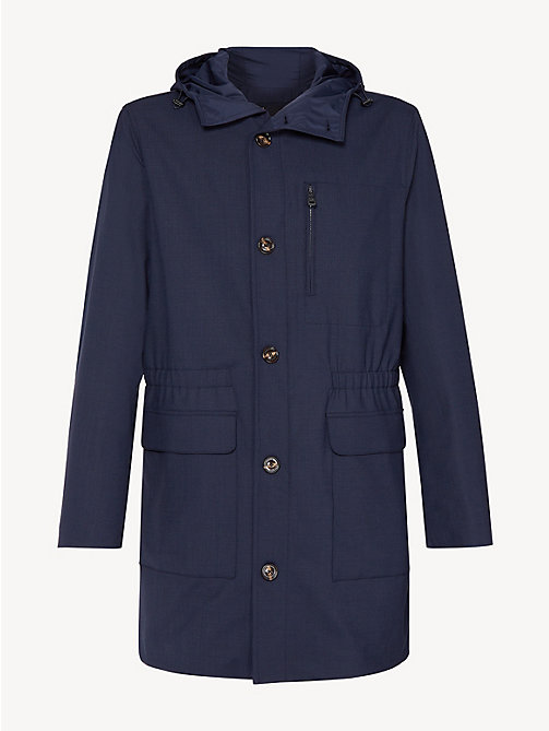 TOMMY HILFIGER Wool Blend Hooded Parka - SKY CAPTAIN - TOMMY HILFIGER Coats & Jackets - detail image 1