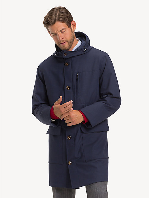 TOMMY HILFIGER Wool Blend Hooded Parka - SKY CAPTAIN - TOMMY HILFIGER Coats & Jackets - main image