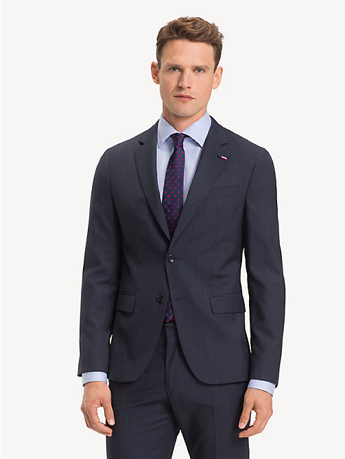 TOMMY HILFIGER Wool Gingham Blazer - NAVY BLAZER - TOMMY HILFIGER NEW IN - main image