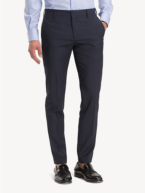 TOMMY HILFIGER Wool Check Trousers - NAVY BLAZER - TOMMY HILFIGER Formal Trousers - main image