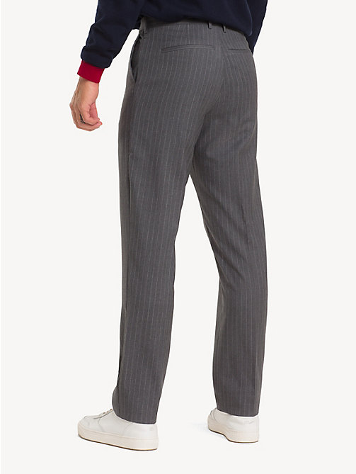 TOMMY HILFIGER Wool Stripe Suit Separate Trousers - GUN METAL - TOMMY HILFIGER Formal Trousers - detail image 1