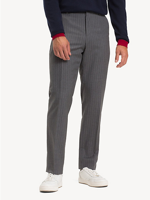 TOMMY HILFIGER Wool Stripe Suit Separate Trousers - GUNMETAL - TOMMY HILFIGER Formal Trousers - main image