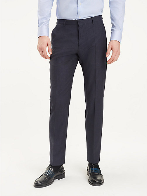 TOMMY HILFIGER Micro Check Suit Separate Trousers - NAVY BLAZER - TOMMY HILFIGER Formal Trousers - main image