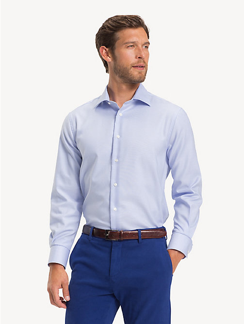 TOMMY HILFIGER TH Flex Collar Regular Fit Shirt - HEATHER BLUE - TOMMY HILFIGER Formal Shirts - detail image 1