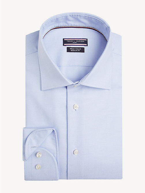 TOMMY HILFIGER TH Flex Collar Regular Fit Shirt - HEATHER BLUE - TOMMY HILFIGER NEW IN - main image