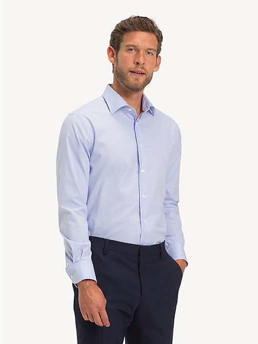 TOMMY HILFIGER TH Flex Collar Check Shirt - HEATHER BLUE - TOMMY HILFIGER Formal Shirts - detail image 1