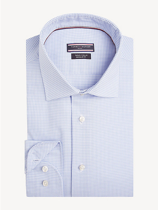 TOMMY HILFIGER TH Flex Collar Check Shirt - HEATHER BLUE - TOMMY HILFIGER Formal Shirts - main image