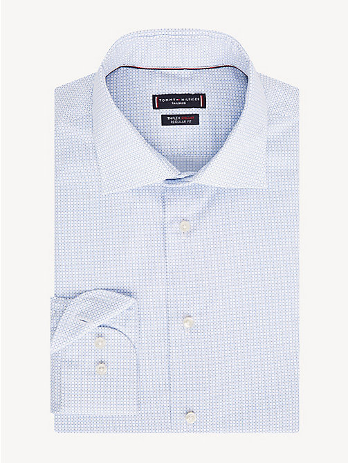 TOMMY HILFIGER TH Flex Collar Print Shirt - HEATHER BLUE - TOMMY HILFIGER Formal Shirts - main image