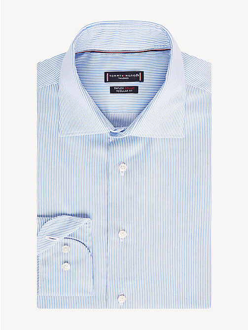 TOMMY HILFIGER TH Flex Collar Stripe Shirt - PASTEL BLUE - TOMMY HILFIGER Formal Shirts - main image