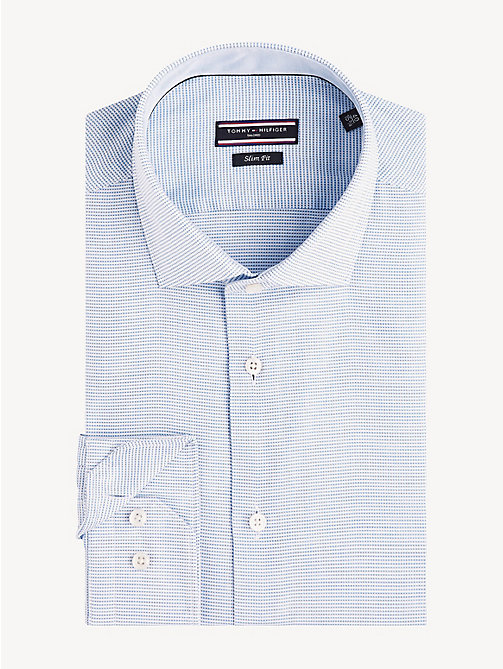 TOMMY HILFIGER Cotton Dobby Slim Fit Shirt - DARK LAVENDER - TOMMY HILFIGER Formal Shirts - main image