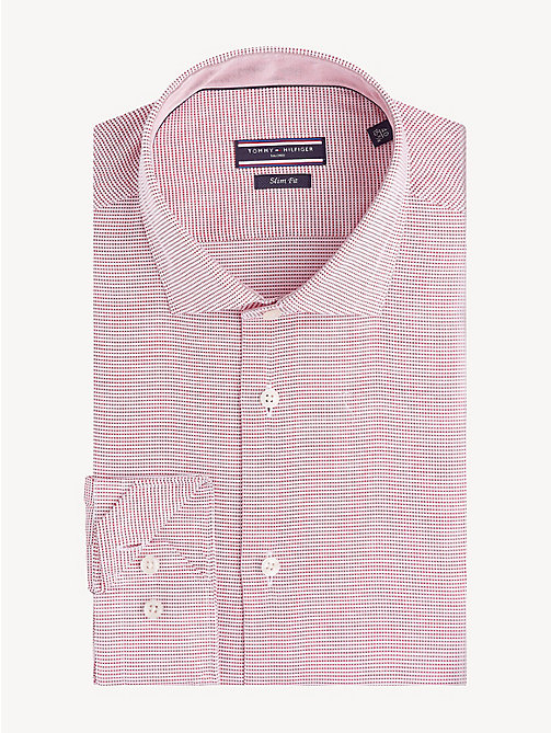 TOMMY HILFIGER Cotton Dobby Slim Fit Shirt - RED - TOMMY HILFIGER Formal Shirts - main image