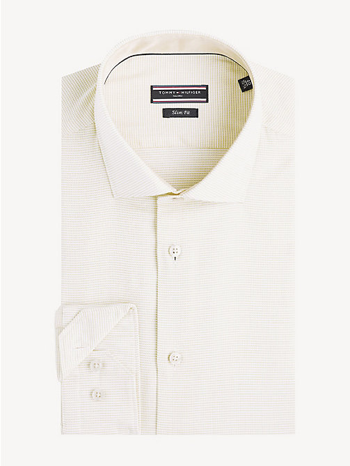 TOMMY HILFIGER Cotton Dobby Slim Fit Shirt - YELLOW - TOMMY HILFIGER Formal Shirts - main image