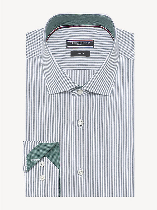 TOMMY HILFIGER Stripe Cotton Oxford Shirt - SEAWEED - TOMMY HILFIGER Formal Shirts - main image