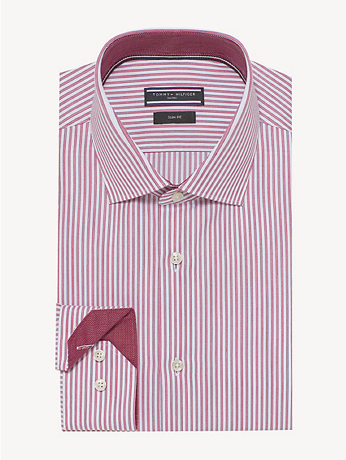TOMMY HILFIGER Stripe Cotton Oxford Shirt - RED - TOMMY HILFIGER Formal Shirts - main image