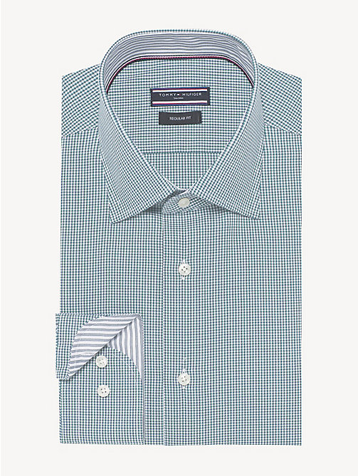 TOMMY HILFIGER Houndstooth Classic Shirt - SEAWEED - TOMMY HILFIGER Formal Shirts - main image