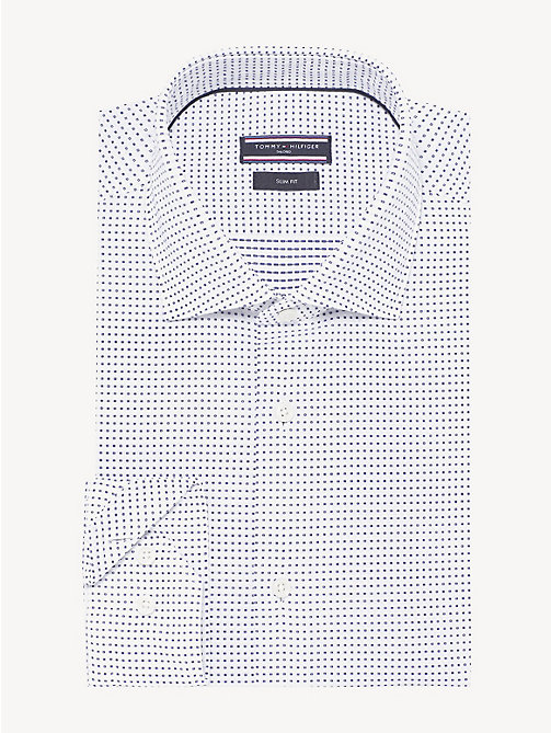 TOMMY HILFIGER Washed Cotton Slim Fit Shirt - WHITE MULTI - TOMMY HILFIGER NEW IN - main image