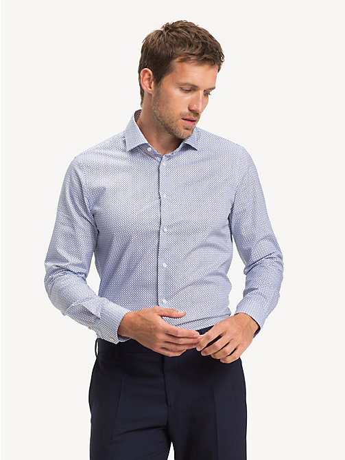 TOMMY HILFIGER Micro Print Slim Fit Shirt - BRIGHT COBALT - TOMMY HILFIGER Formal Shirts - detail image 1