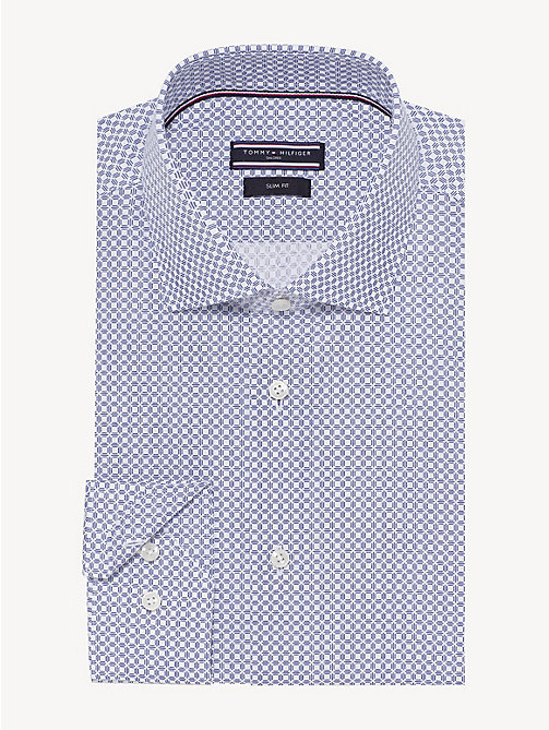 TOMMY HILFIGER Micro Print Slim Fit Shirt - BRIGHT COBALT - TOMMY HILFIGER Formal Shirts - main image