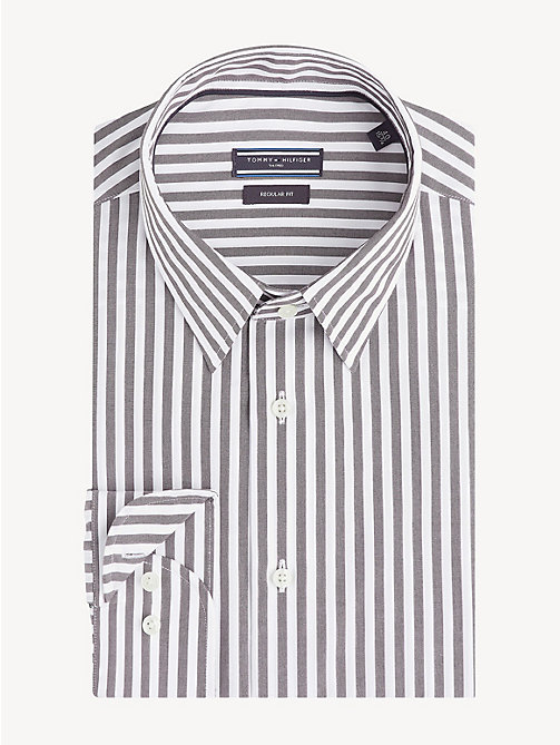 TOMMY HILFIGER Monochrome Stripe Cotton Shirt - LIGHT BLACK - TOMMY HILFIGER Formal Shirts - main image