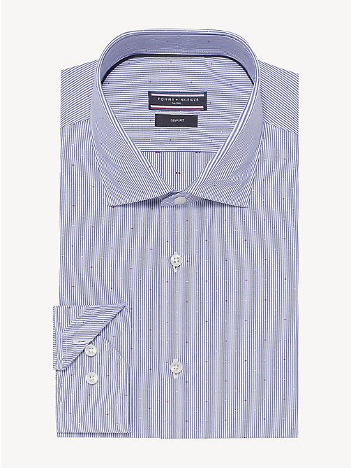 TOMMY HILFIGER Stripe Micro Pattern Shirt - BRIGHT COBALT - TOMMY HILFIGER Formal Shirts - main image
