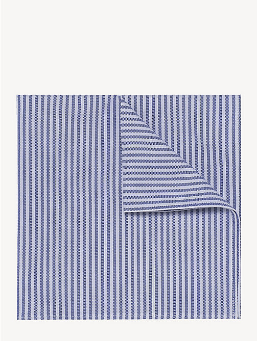 TOMMY HILFIGER Pure Cotton Stripe Pocket Square - DUTCH BLUE - TOMMY HILFIGER Ties & Pocket Squares - main image