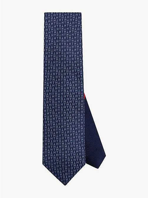 TOMMY HILFIGER Pure Silk Monogram Tie - TRUE NAVY - TOMMY HILFIGER Stocking Stuffers - main image