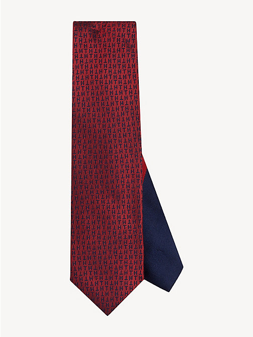 TOMMY HILFIGER Pure Silk Monogram Tie - RED - TOMMY HILFIGER Stocking Stuffers - main image