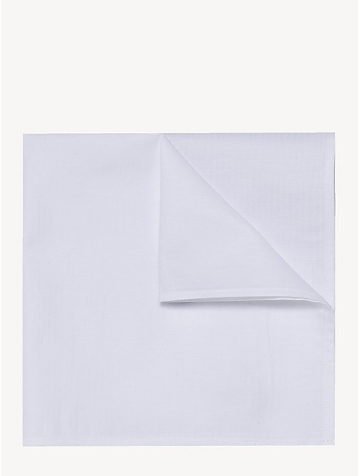 TOMMY HILFIGER Cotton Herringbone Pocket Square - WHITE - TOMMY HILFIGER Ties & Pocket Squares - main image