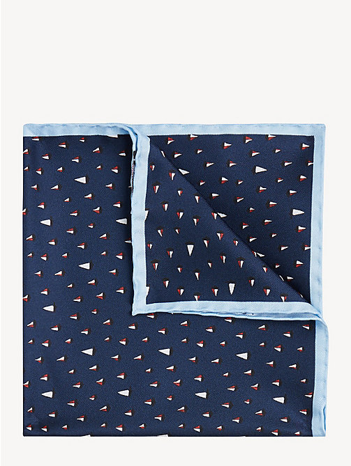 TOMMY HILFIGER Silk Boat Print Pocket Square - NAVY - TOMMY HILFIGER Ties & Pocket Squares - main image