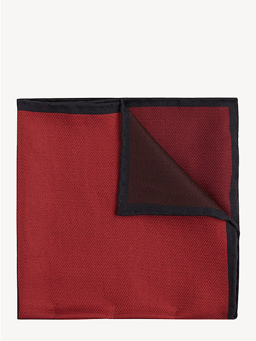 TOMMY HILFIGER Silk Colour-Blocked Pocket Square - RUBY WINE - TOMMY HILFIGER Ties & Pocket Squares - main image