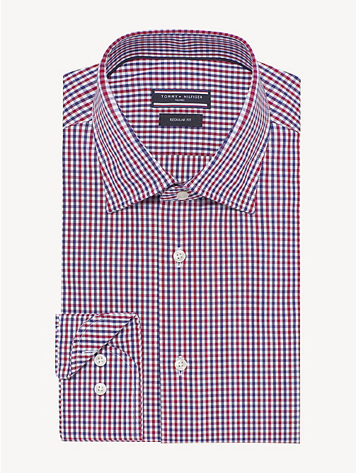TOMMY HILFIGER Gingham Pure Cotton Shirt - RED - TOMMY HILFIGER Formal Shirts - main image