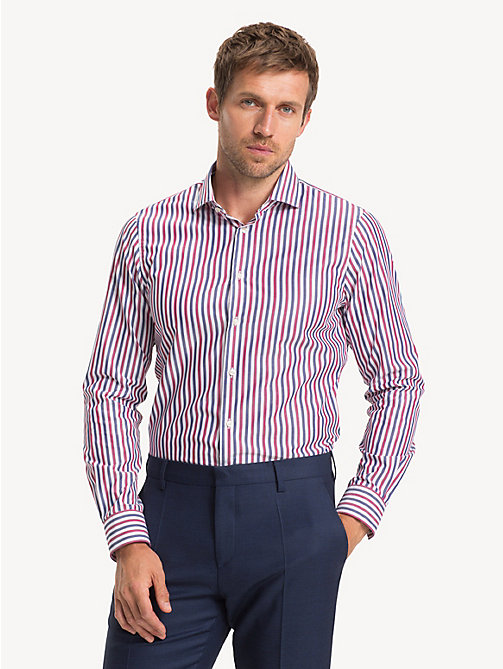 TOMMY HILFIGER Pure Cotton Slim Fit Shirt - RED - TOMMY HILFIGER Formal Shirts - detail image 1