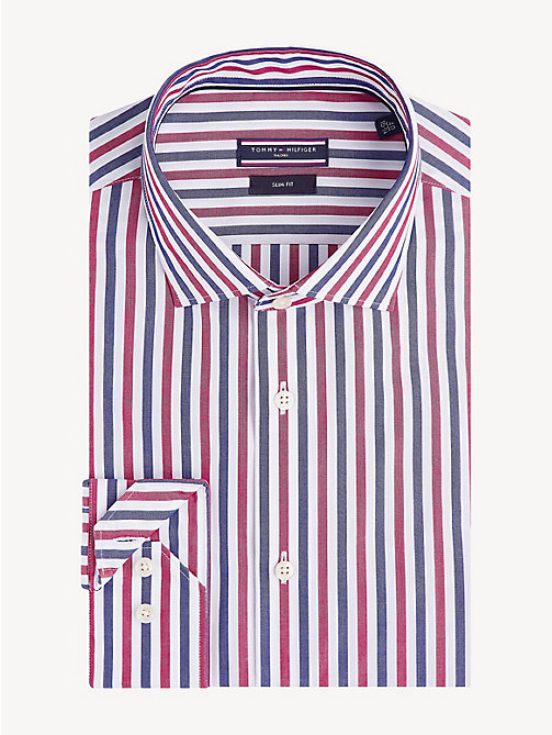 TOMMY HILFIGER Pure Cotton Slim Fit Shirt - RED - TOMMY HILFIGER Formal Shirts - main image