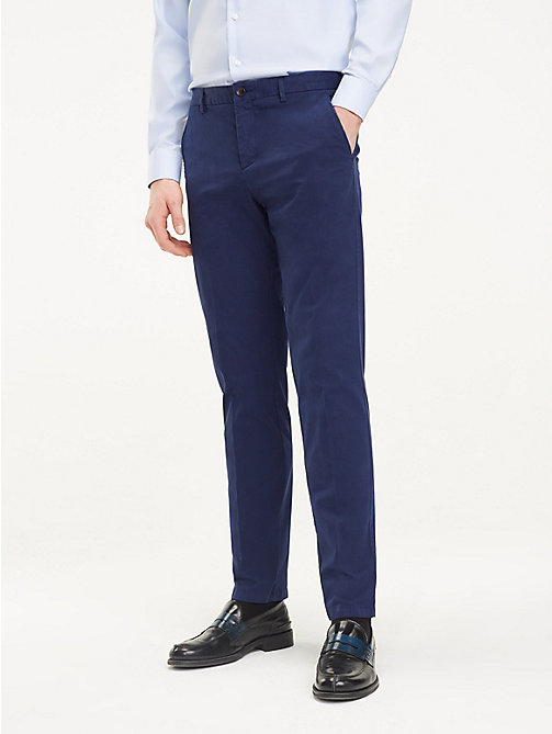 TOMMY HILFIGER TH Flex Cotton Trousers - SKY CAPTAIN - TOMMY HILFIGER Formal Trousers - main image