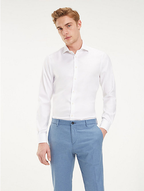 TOMMY HILFIGER TH Flex Collar Slim Fit Shirt - WHITE - TOMMY HILFIGER Formal Shirts - detail image 1