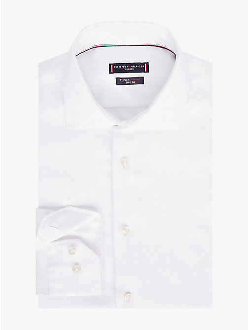 TOMMY HILFIGER TH Flex Collar Slim Fit Shirt - WHITE - TOMMY HILFIGER Formal Shirts - main image