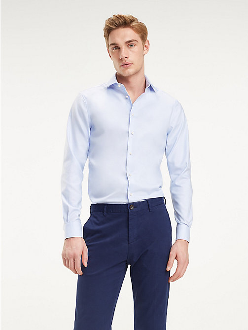 TOMMY HILFIGER TH Flex Collar Slim Fit Shirt - HEATHER BLUE - TOMMY HILFIGER Something Special - detail image 1