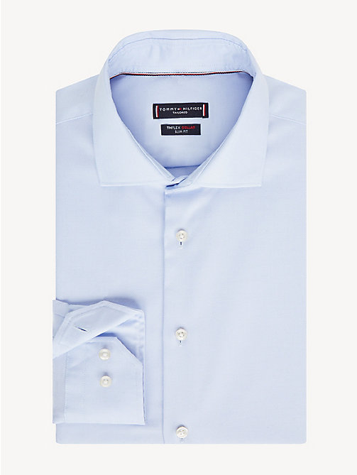 TOMMY HILFIGER Slim Fit Hemd mit TH Flex-Kragen - HEATHER BLUE - TOMMY HILFIGER Luxuriose Gesten - main image