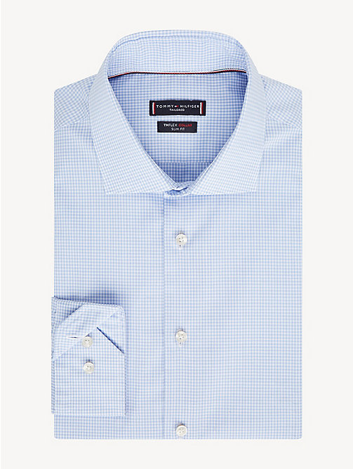 TOMMY HILFIGER TH Flex Collar Gingham Slim Fit Shirt - HEATHER BLUE - TOMMY HILFIGER Formal Shirts - main image