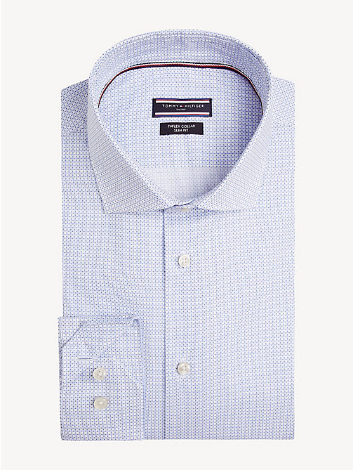 TOMMY HILFIGER TH Flex Collar Slim Fit Shirt - HEATHER BLUE - TOMMY HILFIGER NEW IN - main image