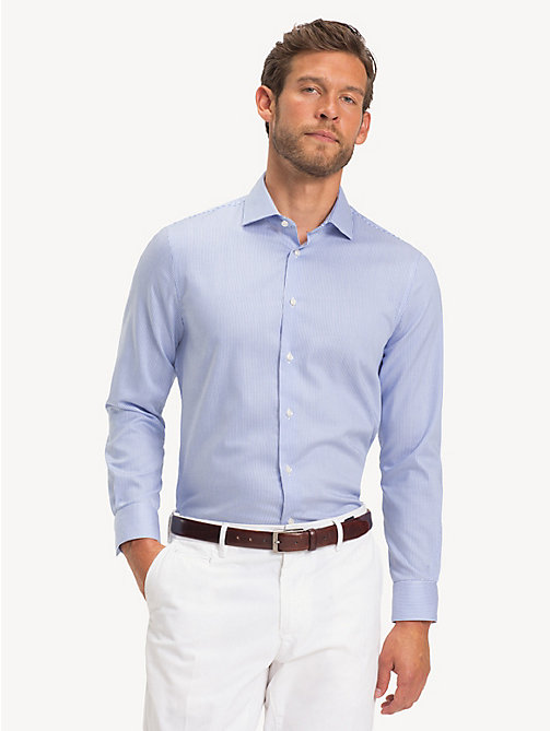 TOMMY HILFIGER TH Flex Collar Slim Fit Shirt - PASTEL BLUE - TOMMY HILFIGER Formal Shirts - detail image 1
